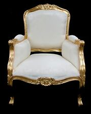 ORNATE CHAIR GOLD & IVORY CREAM LOUIS FRENCH WING  ARM HOME SHOP SALON LOUNGE