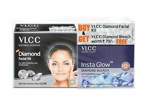 VLCC Diamond Facial Kit with Free Diamond Bleach For Parlour Like Glow (30gm)