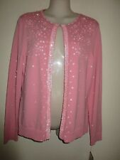 NYGARD COLLECTION NWT Lovely Pink Embellished Lined Cardigan, 60% Silk, Size S