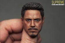 Custom 1/6 Scale Tony Stark 5.0A Neckness Head Sculpt For Hot Toys Figure Body