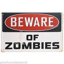 Vintage Style Metal Wall Plaque Shabby Chic Beware Of Zombies Sign Halloween