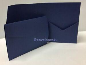 Navy Matte 300gsm Pocketfold Invitations A5 Portrait Wallet C/W Envelopes