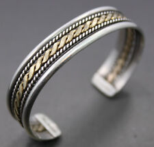Sterling Silver Navajo 1/20 10k Gold Filled Center Cuff Bangle by Nora Tahe