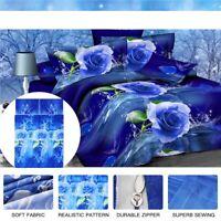 3D Blue Rose Printed Bedding Set Pillowcase Duvet Quilt Cover Twin Queen King