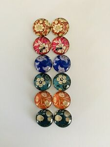 6 Pairs Of 10mm  Cabochons #883