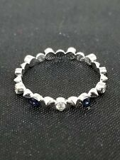 0.13ct 18k White Gold Diamond with Blue Sapphire Stackable Ring