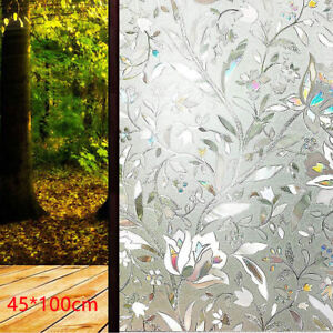 3D Rainbow Window Film Stained Glass Static Cling Sticker Frosted Home Privacy