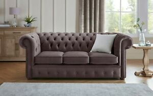 Chesterfield New Sofa Settee 3 Seater Fabric Velvet Handmade Malta Lavender 02
