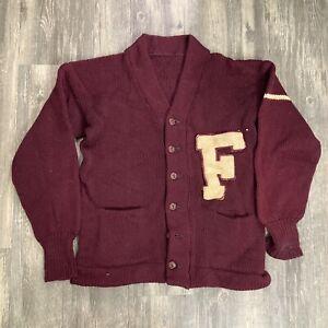 Vintage Letterman Sweatshirt Cardigan 50s 60s Medium Letter F