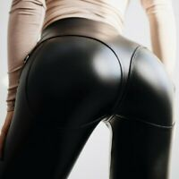 Damen Punk Push Up PU-Leder Leggings Kunstleder Hose Taschen Freizeit Leggin