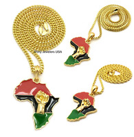 NEW AFRICA MAP FIST POWER  PENDANT CUBAN, BOX, ROPE CHAIN NECKLACE HIP HOP
