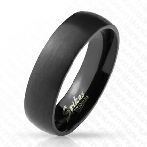 6mm Titanium Black Brushed Domed Wedding Band Ring Size 6-13