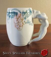 Vintage Barrel Shape Spread Eagle Figural Nude Handle Mug Tankard with Grapes