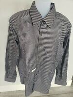 NEW NWOT ermenegildo zegna Brown striped Classic Fit Dress Shirt Cotton 17 L