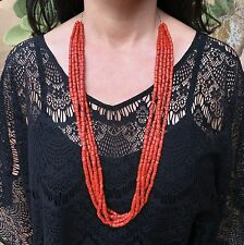 OLD NATIVE AMERICAN MULTI-STRAND MEDITERRANEAN RED CORAL NECKLACE