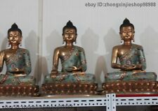 Tibet Pure Bronze Cloisonne Three Amitabha Tathagata Sakyamuni Buddha Statue Set