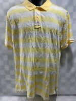 CLUB ROOM Fitted Yellow White Striped Polo Shirt Men's Size L
