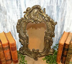 Antique French Brass Mirror Art Nouveau Cherubs Floral Wall Mount
