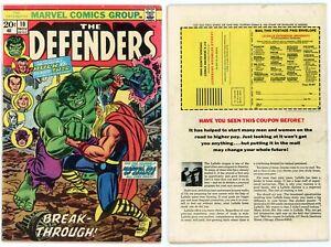 Defenders #10 VG+ 4.5 Classic THOR vs HULK Romita Cover Art Hawkeye 1973 Marvel
