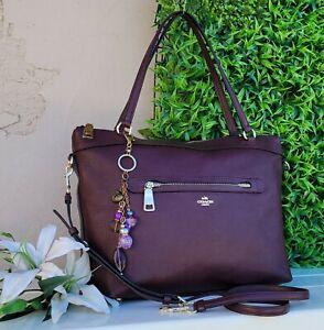 Coach 54687 Tyler soft Leather tote shoulder bag purse handbag oxlood purple EUC