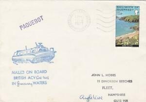 GB  GUERNSEY 1977 HOVERCRAFT COVER TO UK POSTED IN FRANCE
