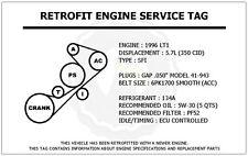 1996 LT1 5.7L Corvette Retrofit Engine Service Tag Belt Routing Diagram Decal