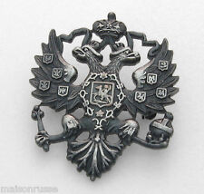 Lapel Pin - Russian Double Headed Eagle - Imperial Romanov Czar - Pewter Finish
