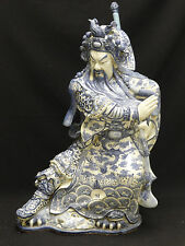 IMPRESSIVE ANTIQUE EARLY 20 c  BLUE & WHITE PORCELAIN GUAN YU STATUE 雍正青花瓷瓶 關公