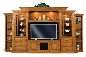 Amish Traditional Hoosier TV Entertainment Center Wall Unit Solid Oak Wood