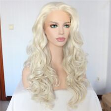 """US 24"""" Synthetic Hair Lace Front Wig White Blonde Fashion Long Curly Wavy"""