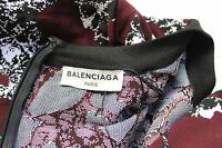 New Balenciaga Burgundy print stretch body dress F 38 uk 10