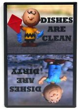"Charlie Brown & Pigpen Clean / Dirty Dishwasher Magnet 2"" x 3"". Peanuts"
