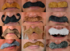 FANCY DRESS MOUSTACHES!! ALL COLOURS, SIZES + STYLES! SELF ADHESIVE. FAST SHIP
