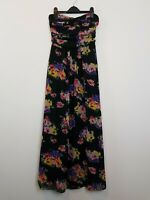 REVIEW Australia Black Floral Strapless Maxi Dress Women's Size 8 Layered Party