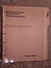 Harman Kardon Hk100m Hk 100 M Service Manual Original Repair Book Stereo  Tape