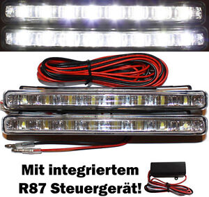 2x LED Tagfahrlicht 8SMD FLAT E4 R87 TFL Xenon 6000K DRL Lights