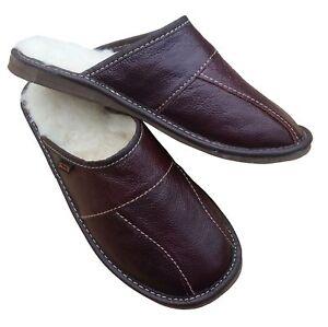 Men's Sheepskin Slippers Luxury Slip On House Shoe Leather Wool Mule Size 6.5-11