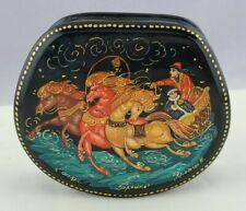 Kholuy Russian Lacquer Trinket Box Troika Horses