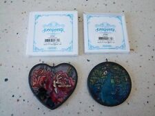 "Joan Baker Art Glass Lot of 2 Suncatchers 3"" Old Red Rose/Heart & 2.75"" Peacock"