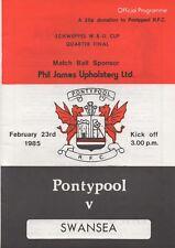 Feb 85 PONTYPOOL v SWANSEA Scheppes Welsh Cup
