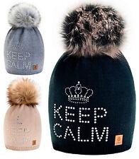 Women Winter Beanie Hat Wool Knitted CRYSTAL Ladies Fashion Large Pom Pom 1