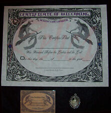 WICCAN PERSONALIZED CERTIFICATE OF WICCANING W/ WICCAN ID CARD & WICCAN PENDANT