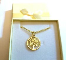 """Tree of Life""Gold Plated Charm Pendant Necklace 18 inch gold plated Chain Box"