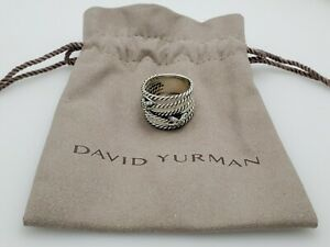 David Yurman Sterling Silver Double X Crossover Ring with Diamonds Size 8