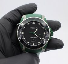 Gucci Dive Black Green Rubber Men Watch with 0.8 ct Green Diamond