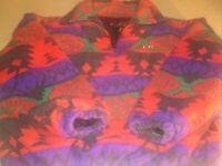 VTG 90s CB Sports Mens Unisex Southwestern Aztec 1/4 Zip Pullover Jacket Large