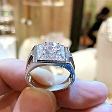 Mens Rings 925 silver rings Decorated with create Diamond Pinky Rings For Man