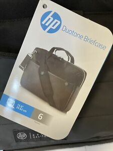 HP Duotone 15.6 Inch Padded Water Resistant Laptop Briefcase - Silver and Black.