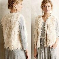 Anthropologie Hei Hei First Frost Faux Fur Vest Shaggy Boho XS EUC