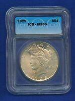 1925 P ICG MS65 Peace Silver Dollar $1 US Mint 1925-P ICG MS-65 PQ Gem Coin !